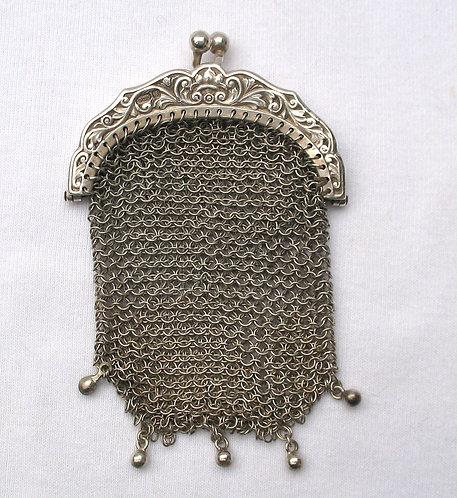 Silver chain purse