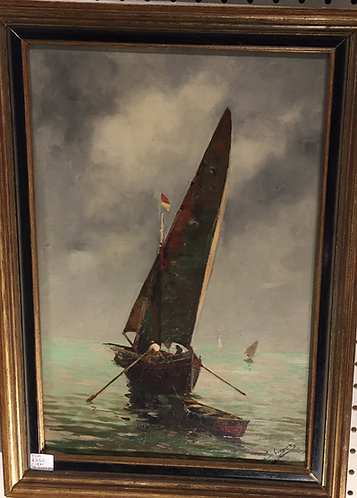 Oil painting ship at sea