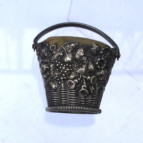 Silver Basket pin cushion