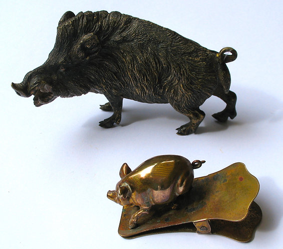 Boar bronze and pig paper clip. Separate prices see info