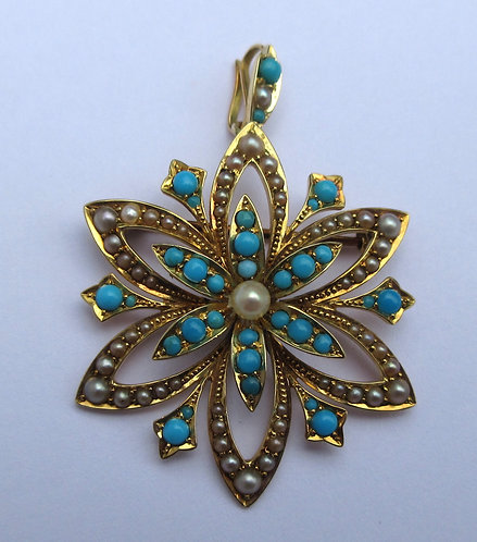 Brooch, 15ct turquoise, pearl c.1910