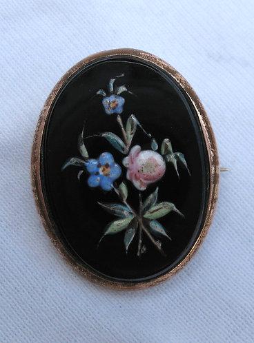Handpainted forget-me-knots, porcelain brooch c.1850
