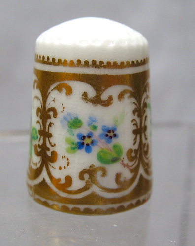 Hand painted forget-me-not  porcelain thimble