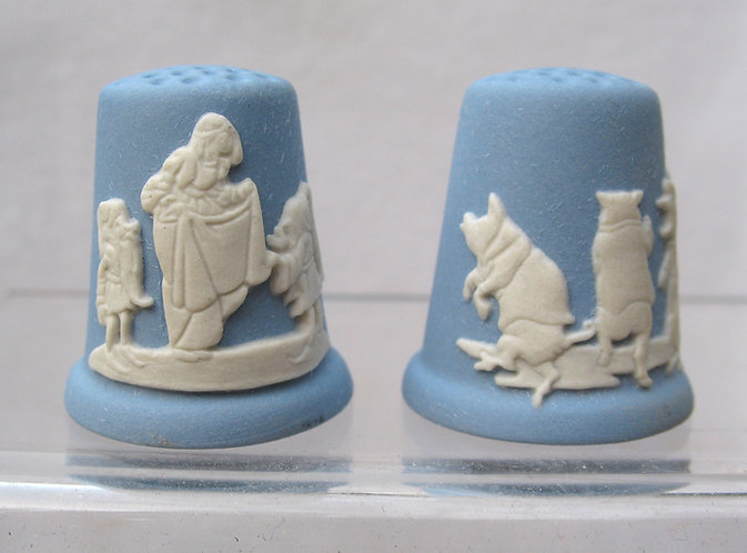 Pair of Wedgwood Christmas Fairy story thimbles