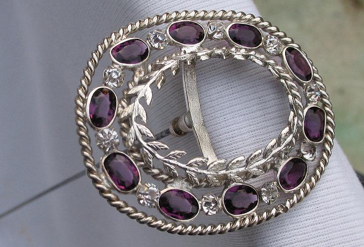Silver & purple paste hat pin