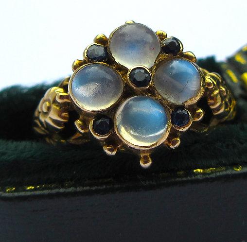 Ring 9ct , moonstones, sapphires Bham1892