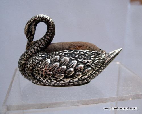 Swan silver pin cushion