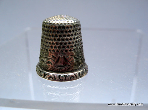 Silver thimble, sailing scenefrom USA