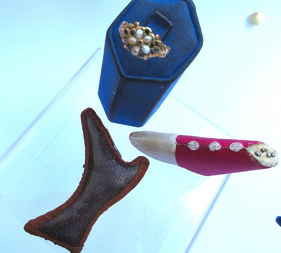 Silk shoe pin cushions and ring.
