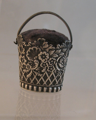 Silver basket pin cushion, Joseph taylor