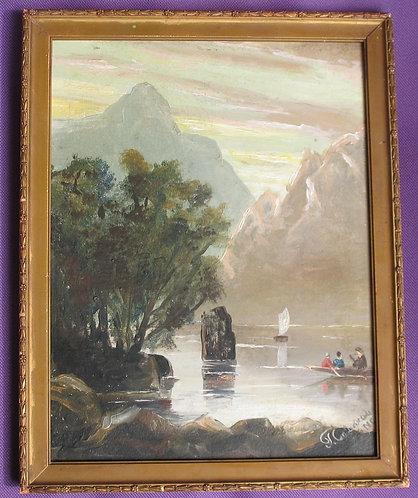 Oil painting mountain scene