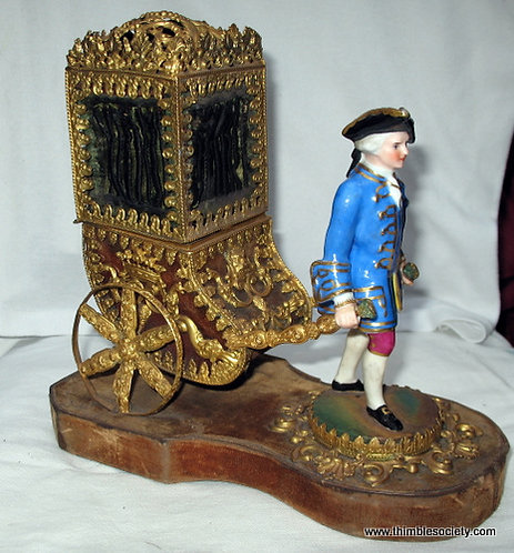 Sedan chair in gilded metal with porcelain figure with 18th cen sewing set D151