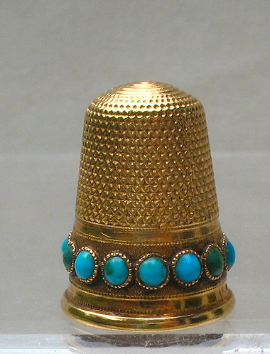 Gold thimble with natural torquoise
