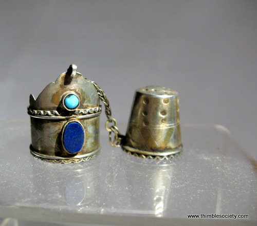 Afghan silver thimble and ring
