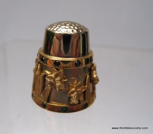 Gold on silver thimble with emeralds RC36