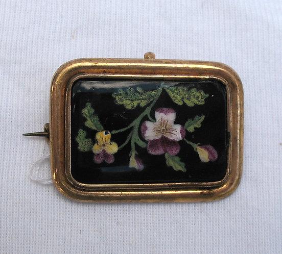 Handpainted pansies, porcelain brooch c.1850
