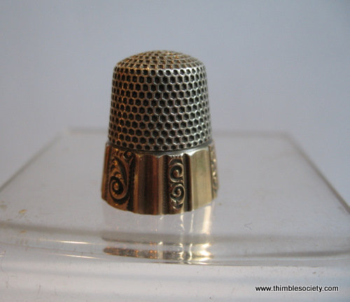 Silver Thimble with gold border
