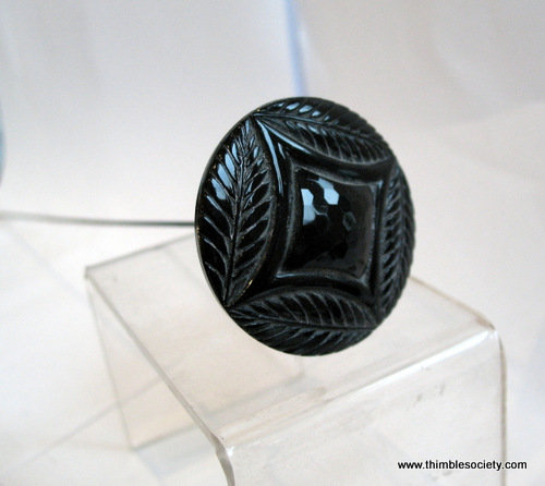 Black [possibly jet glass] hat pin c.1880
