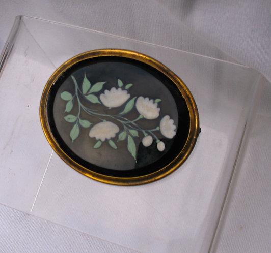 Black porcelain brooch