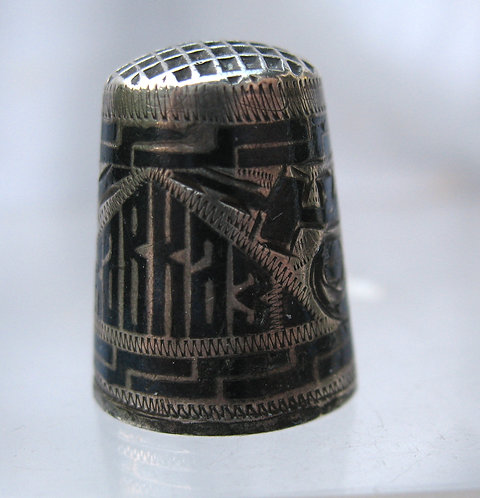 Russian silver and niello thimble