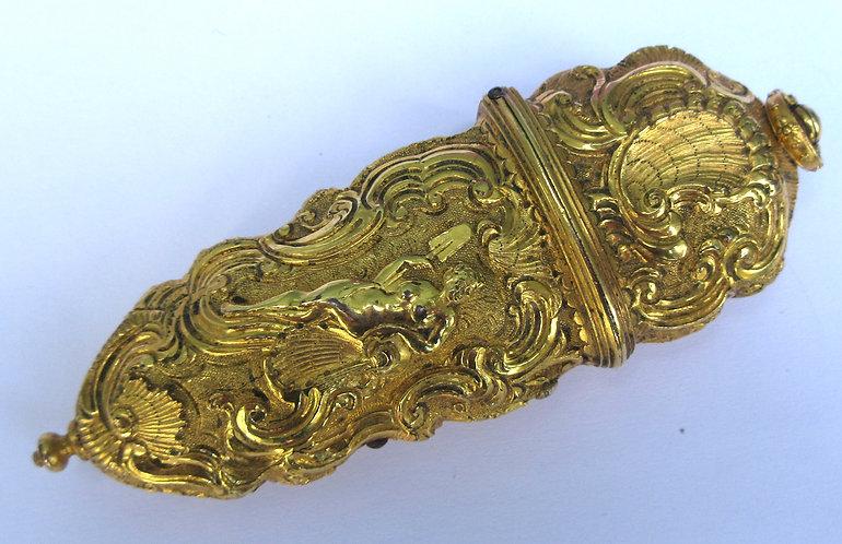 18th cen Rococo gilt metal etui