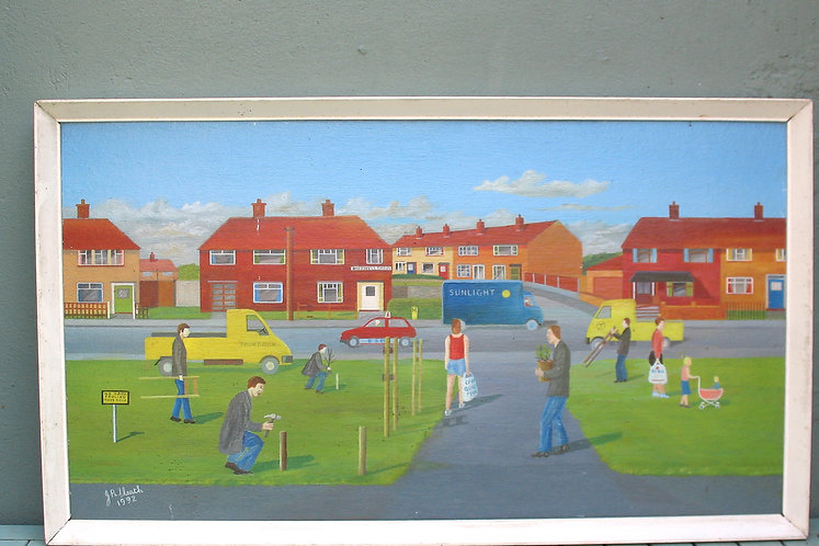 Painting of a street scene, 1992