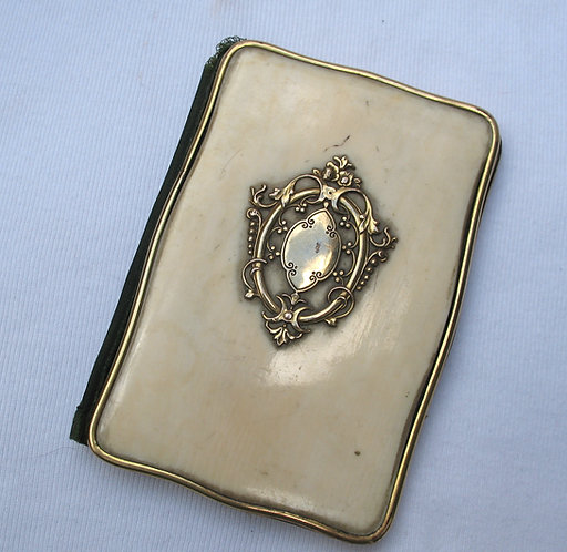 Ivory card case with 9ct gold embellishments