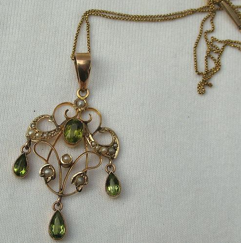 Seed pearl & Peridot pendant