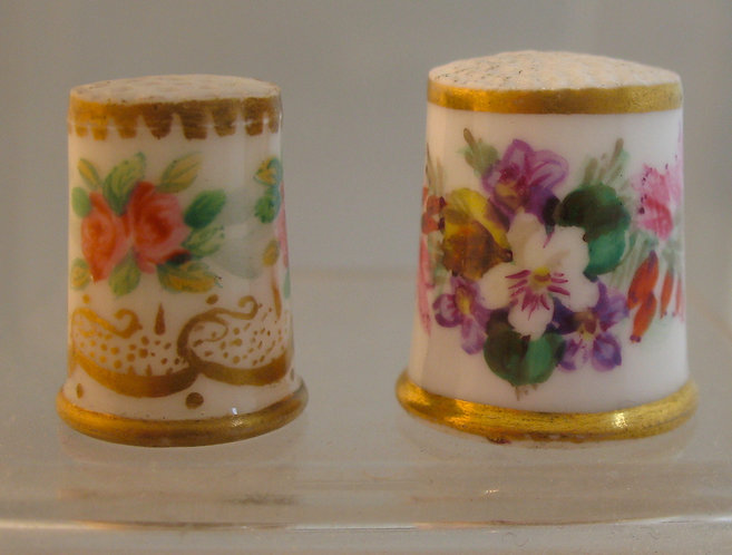 Child's thimble with opaline body and hand painted flowers