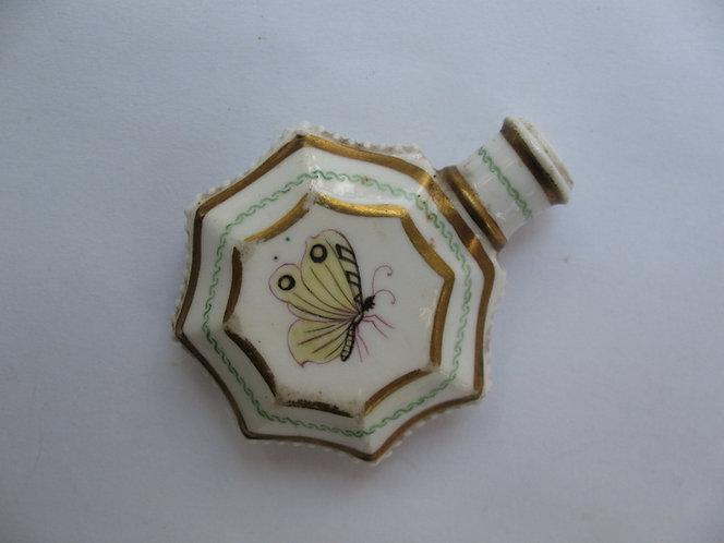 Butterfly painted, porcelain scent bottle c.1860