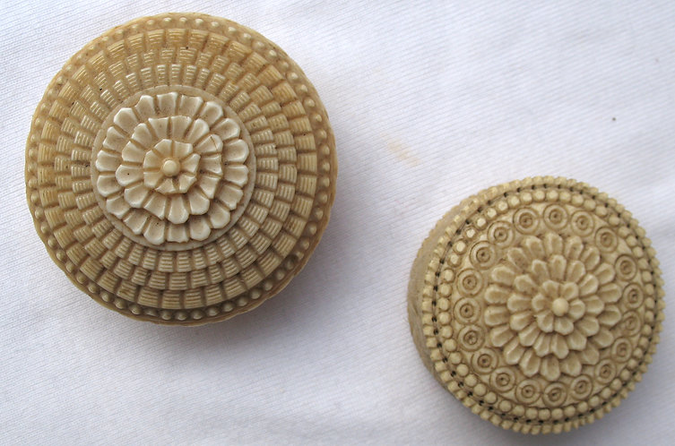 Carved ivory or bone boxes