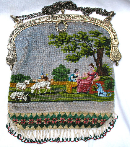 Fine bead work purse with a narrative picture