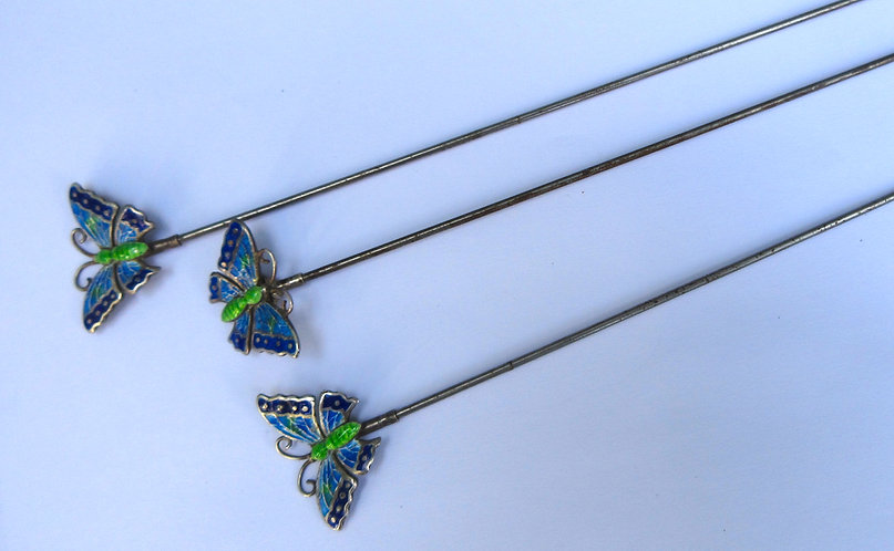 Silver and enamel butterfly hat pins by Charles Horner Chester 1910.