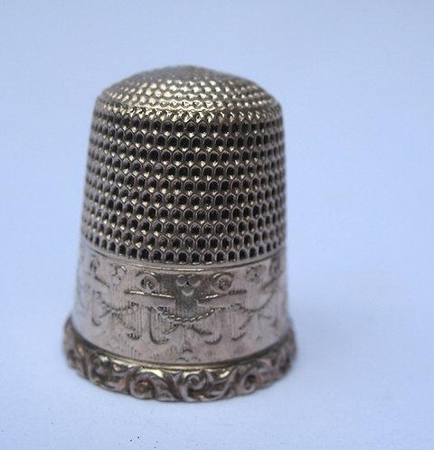 Thimble. Silver, with anchor border, USA.