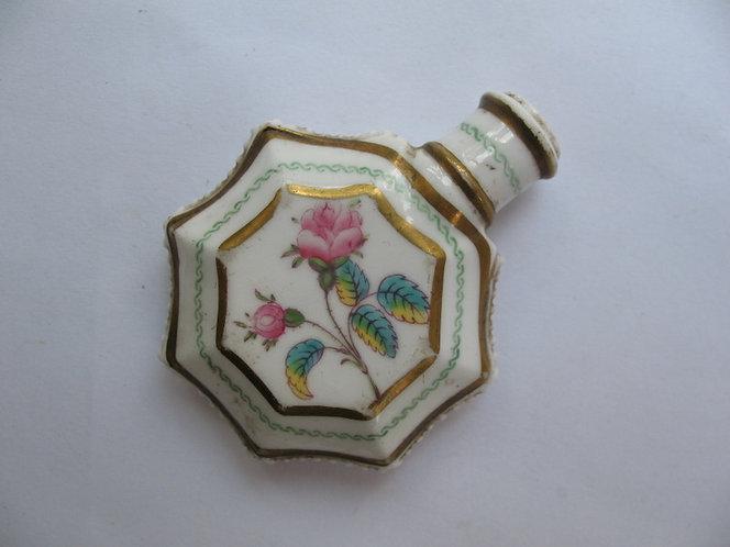 Rose painted, porcelain scent bottle, c.1850