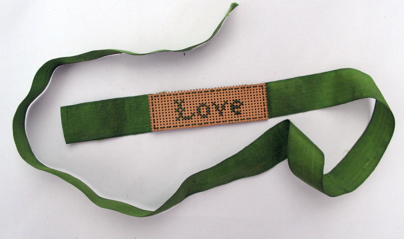 Love' cross stitch book mark