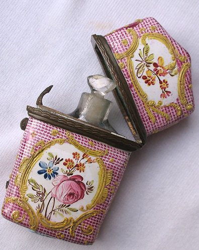 Pink gingham & floral enamel and glass scent bottle