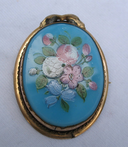 Hand painted floral brooch