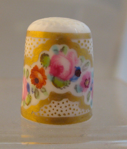 Hand painted and gilded porcelain thimble