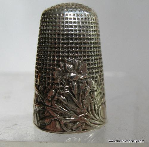Silver thimble, French Art Nouveau design c.1890