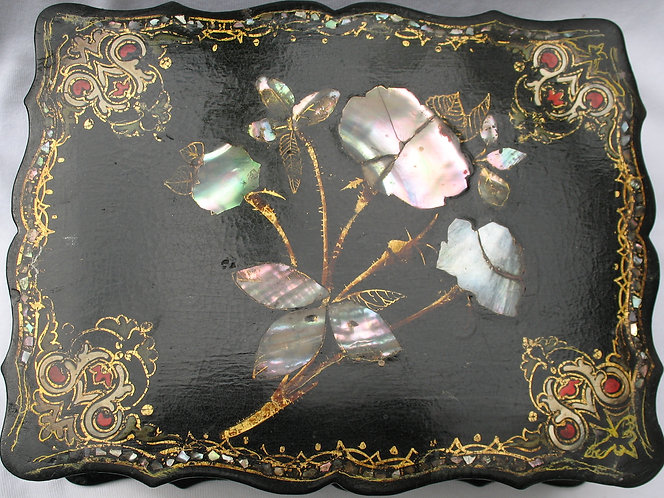 Papier mache sewing box with mother-of-pearl inlay