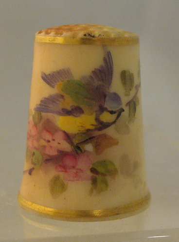 Hand painted cherry blossom thimble