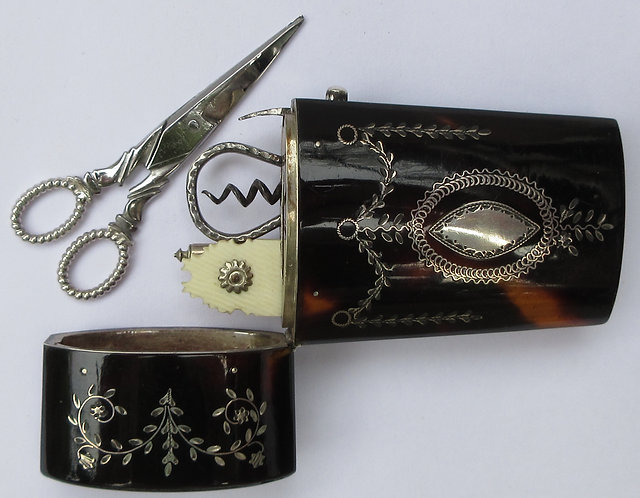 Etui, small size, tortoise and silver