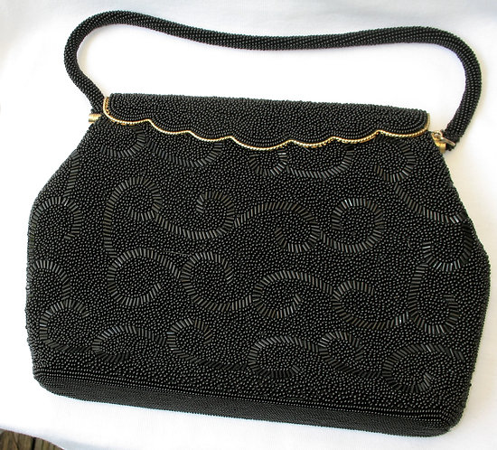 Vintage black beadwork purse
