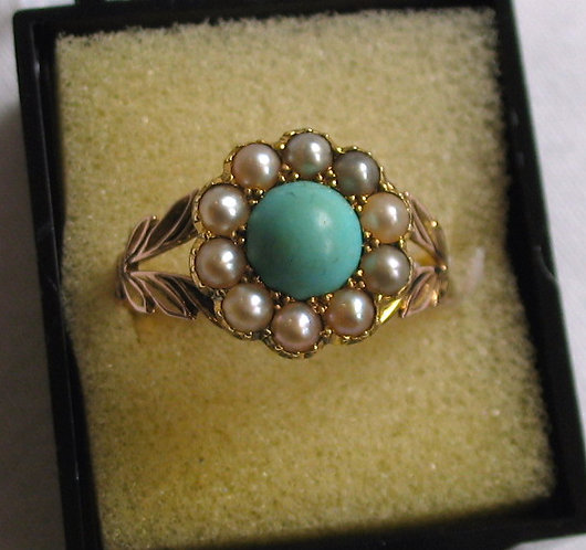 Pearl, torquoise & gold ring