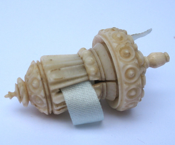 Tape measure, carved bone.