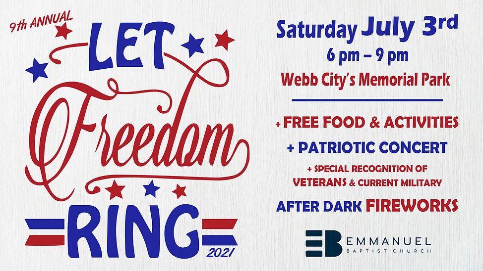 2021 Let Freedom Ring Banner - 16x9 Slid