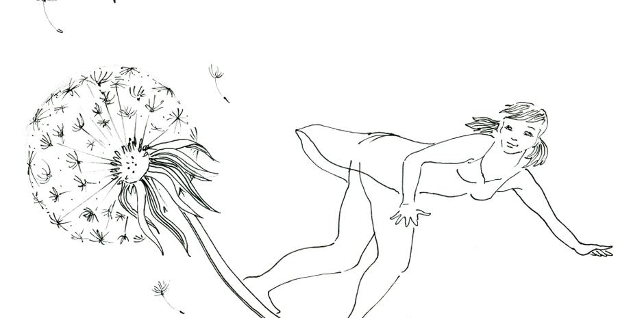 Thumbelina flying on dandelion