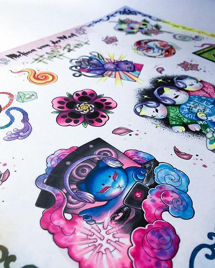 Fluff Riot Tattoo Design Flash Sheet by Tattoo Artist Melina Van Der Werf