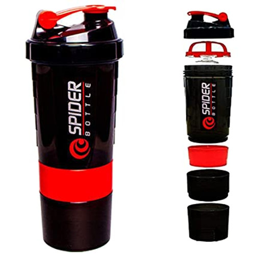 Spider Protien Shaker Bottle 500ml with two storage extra compartment for Gym.